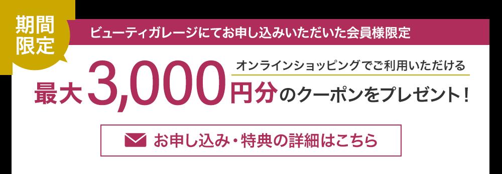 期間限定!最大3,000円分のクーポンをプレゼント!